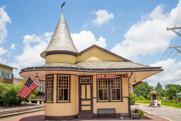 New Hope Pennsylvania Old Railroad Station stock photo