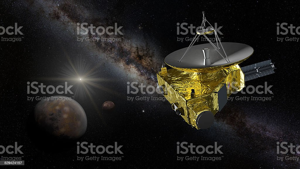 New Horizons approaching Pluto and Charon stock photo
