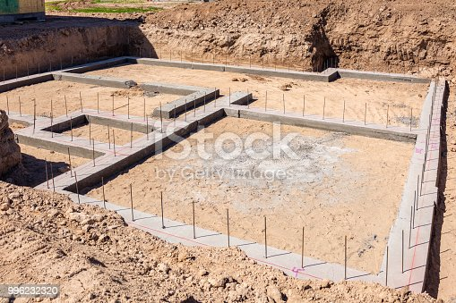 Reinforced concrete foundations on newly prepared land for house building.