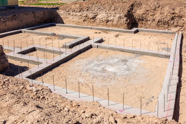 New house building foundations stock photo