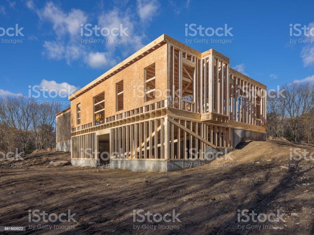 New house construction framing stock photo
