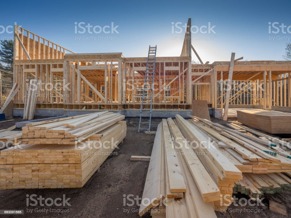New house construction framing royalty-free stock photo