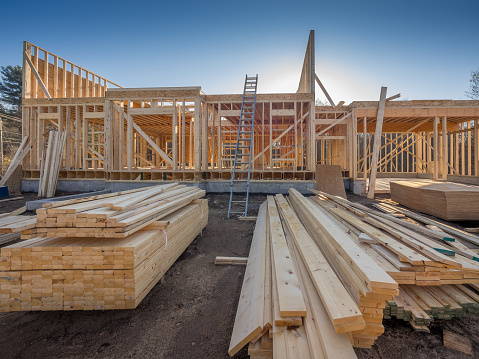New house construction framing in the city suburbs