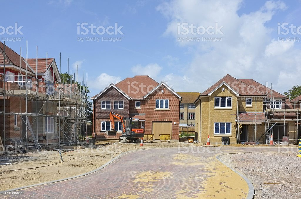 New house construction site stock photo