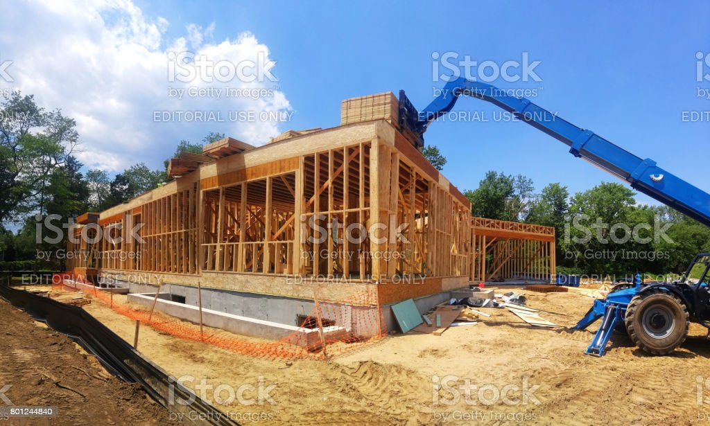 New house construction with frame stock photo