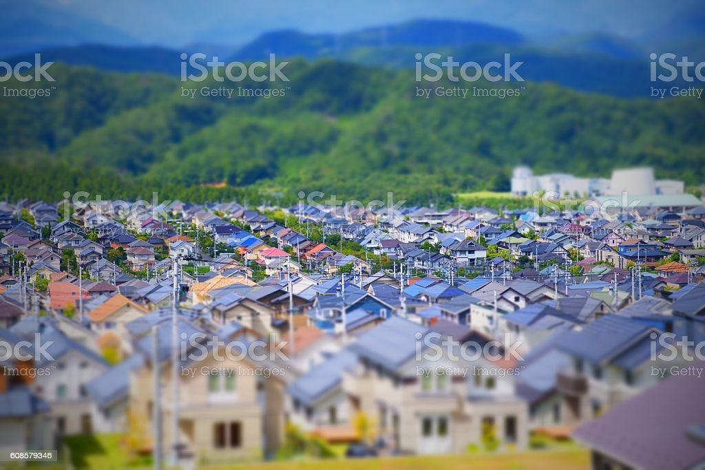 new house in Suburb /Tilt-Shift stock photo