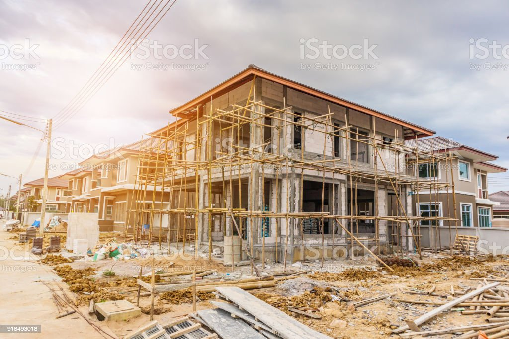 New house under construction at building site stock photo