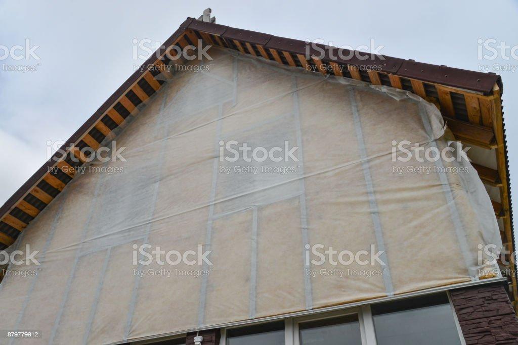 Neue Haus Wand Fassade Isolierung Gegen Blauen Himmel Dach Oder Auf