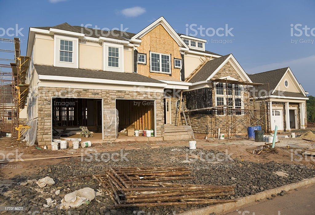 New House with Scaffolding royalty-free stock photo