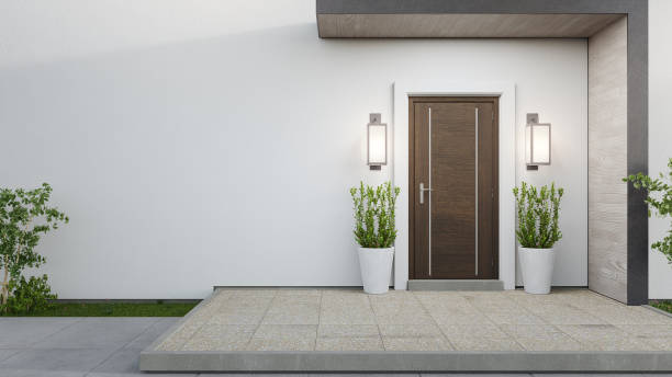 New house with wooden door and empty white wall. 3d rendering of large patio in modern home. entrance stock pictures, royalty-free photos & images