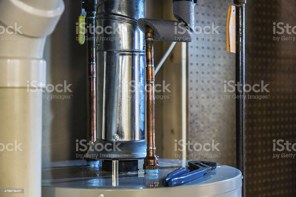 New Household Water Heater Installation stock photo