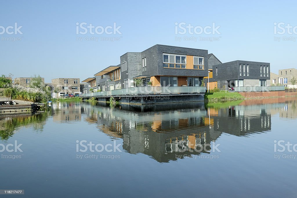 New houses along water in the Netherlands royalty-free stock photo