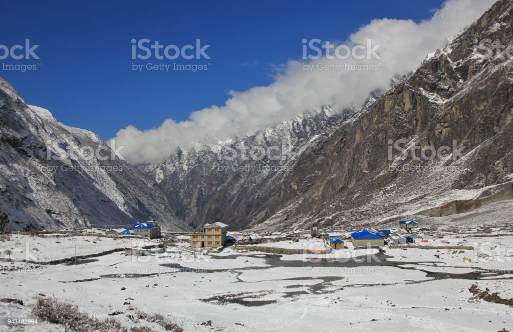 New houses and hotel in Langtang, Nepal. The old village was swept away by a immense avalanche caused by the earthquake in 2015. They started to rebuild the village a little bit higher up than before. stock photo
