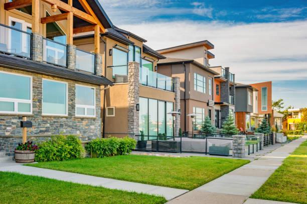 New houses in Calgary Alberta Canada stock photo