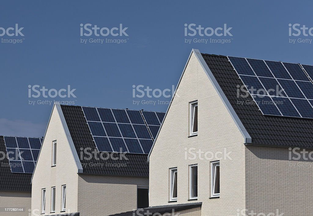 New houses with solar panels attached royalty-free stock photo