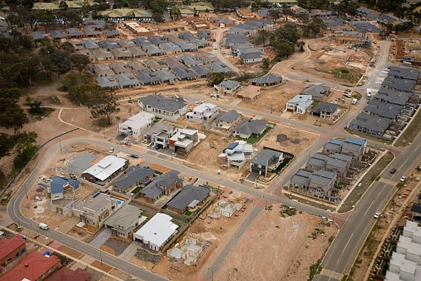 New housing development aerial shot area in Canberra, Australia stock photo