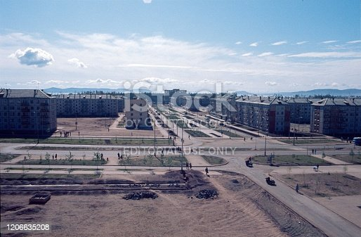 Soviet Union (exact location not known), 1980. Housing development in the former Soviet Union. Also: residents and prefabricated buildings.