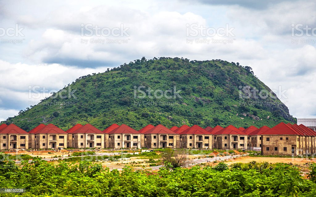 New housing development near Abuja, Nigeria. stock photo