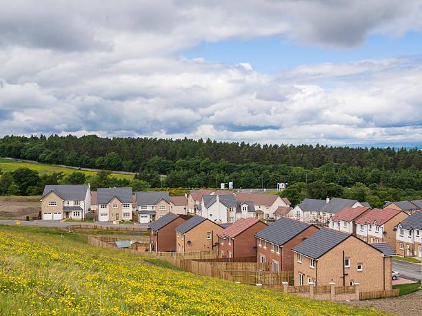 New housing estate in rural setting stock photo