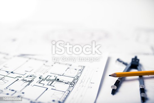 Blueprints on the architects desk