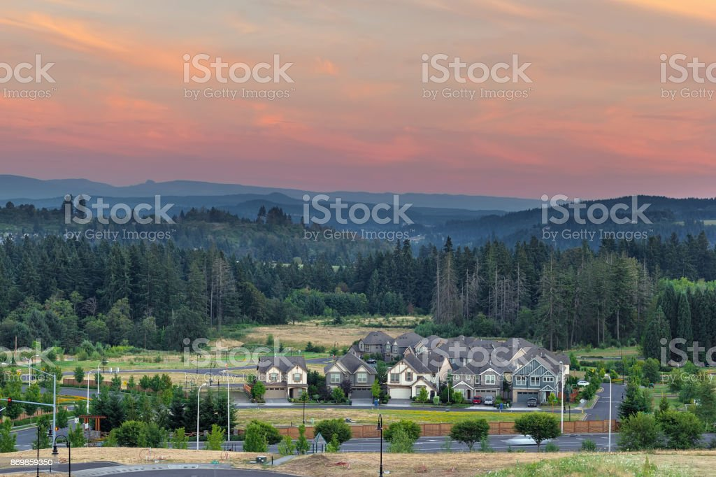 New Housing Suburban Development in Happy Valley Oregon USA stock photo