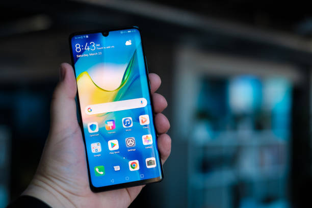 New Huawei P30 Pro smartphone RIGA, MARCH 2019 - Recently launched Huawei P30 Pro smartphone with tripple Leica camera is displayed for editorial purposes huawei stock pictures, royalty-free photos & images