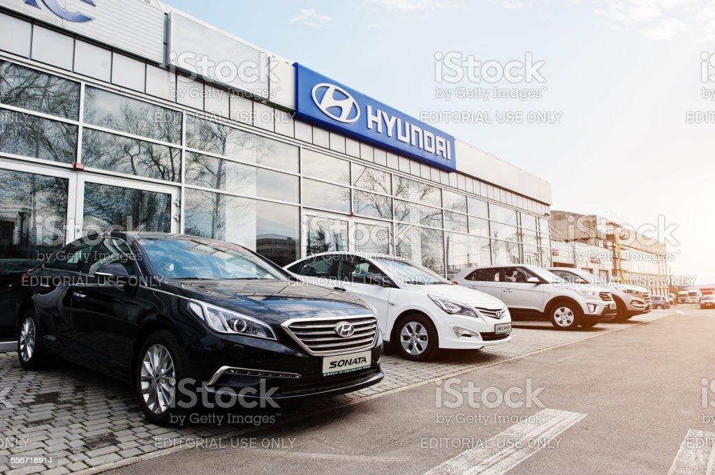 Kiev, Ukraine - March 22, 2017: New Hyundai Accent, Sonata, Tucson and Creta, at car dealership. stock photo