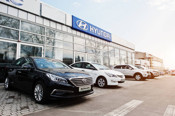 Kiev, Ukraine - March 22, 2017: New Hyundai Accent, Sonata, Tucson and Creta, at car dealership. stock photo