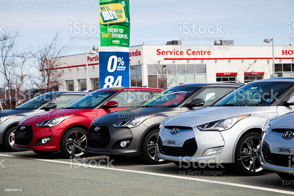 New Hyundai Veloster Vehicles in a Row stock photo