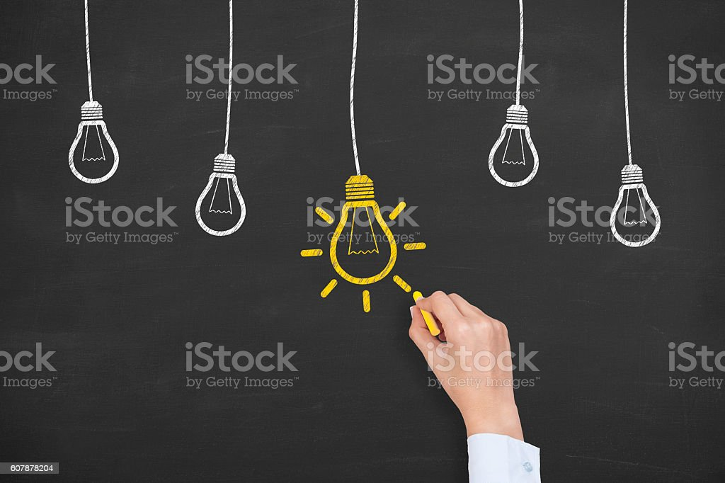 New Idea Concept on Chalkboard Background stock photo