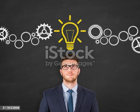 istock New Idea over Businessman Head 512633898
