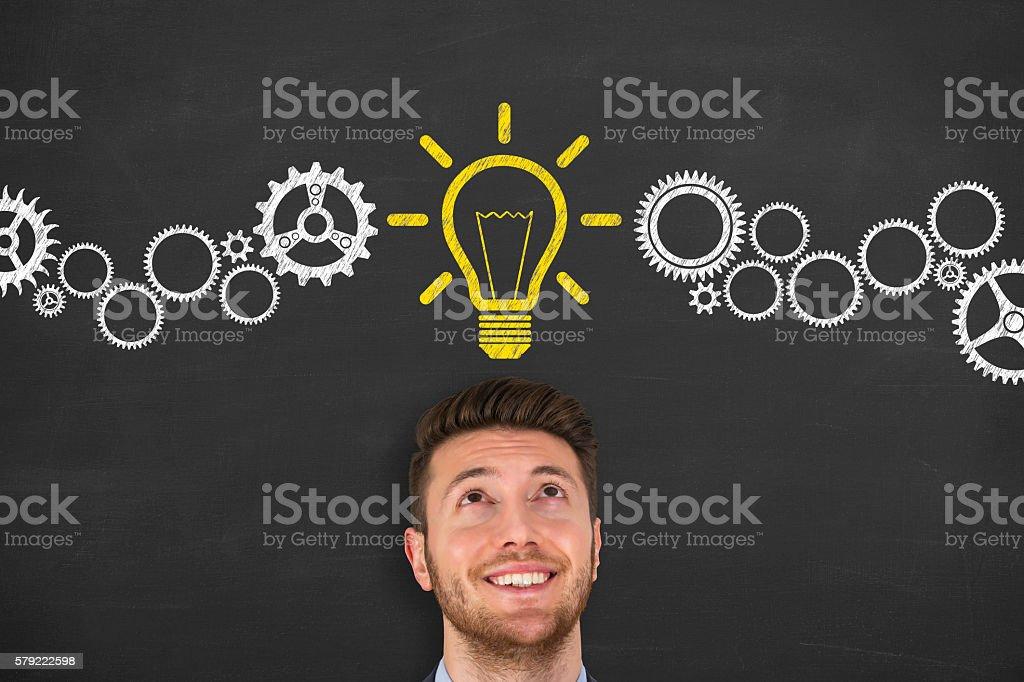 New Idea over Human Head - foto de acervo