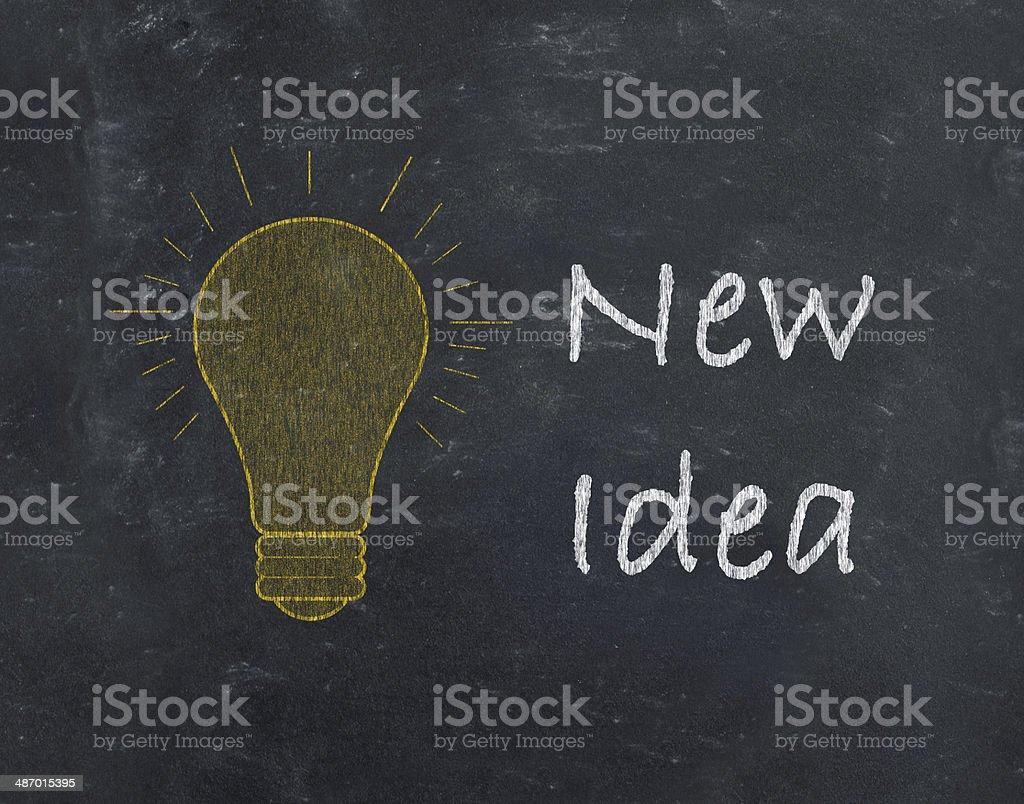 New Idea with light bulb drawn on blackboard royalty-free stock photo