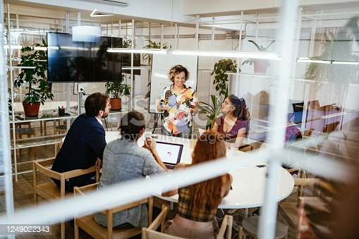 Group of creative entrepreneurs and business people working together in modern eco-friendly office with plants and recycled materials