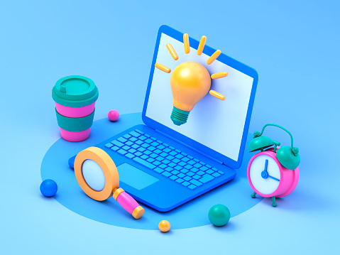 Laptop, magnifying glass, coffee, light bulb  and alarm clock over blue background. 3d rendering