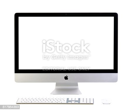 Galati, Romania, February 26, 2014: New iMac 27 with blank screen. It brings new apps to desktop. New Apple iMac 27 inch isolated on white background. Galati, Romania, February 26, 2014