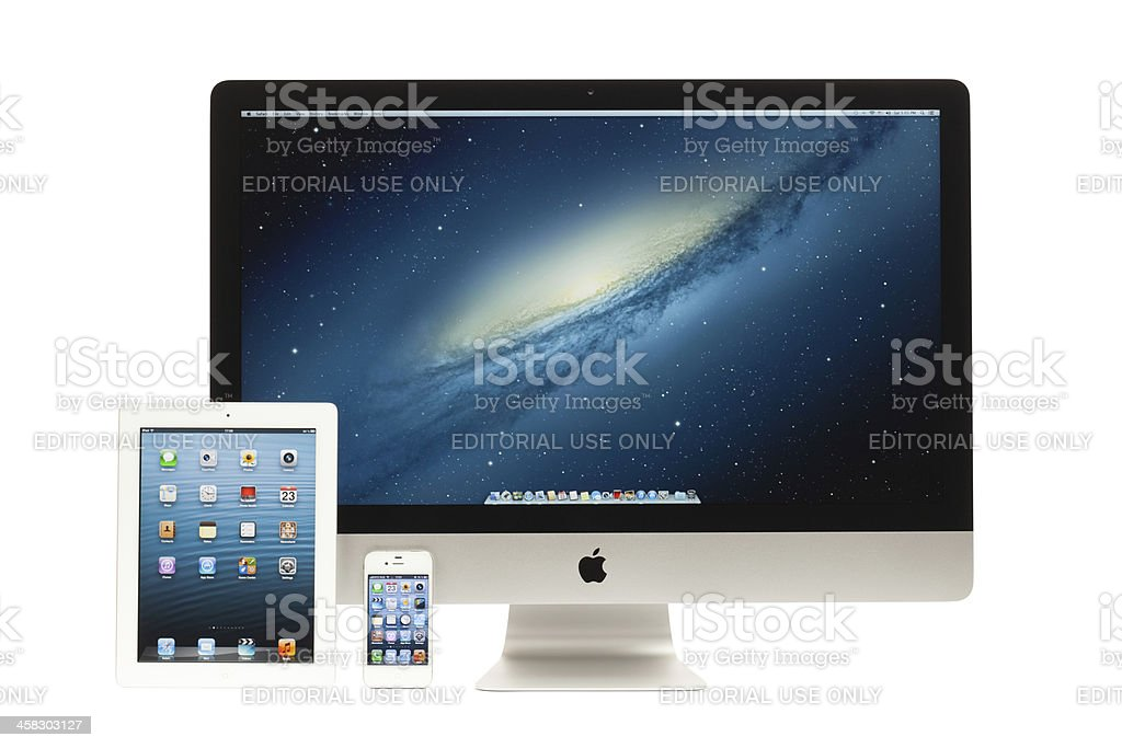 New iMac, iPad, iPhone royalty-free stock photo