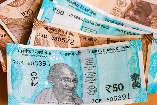 New Indian 10 And 50 Rupees Banknotes Stock Photo - Download Image Now
