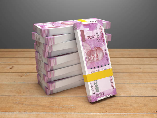 New Indian 2000 Rupee Currency - 3D Rendered Image stock photo