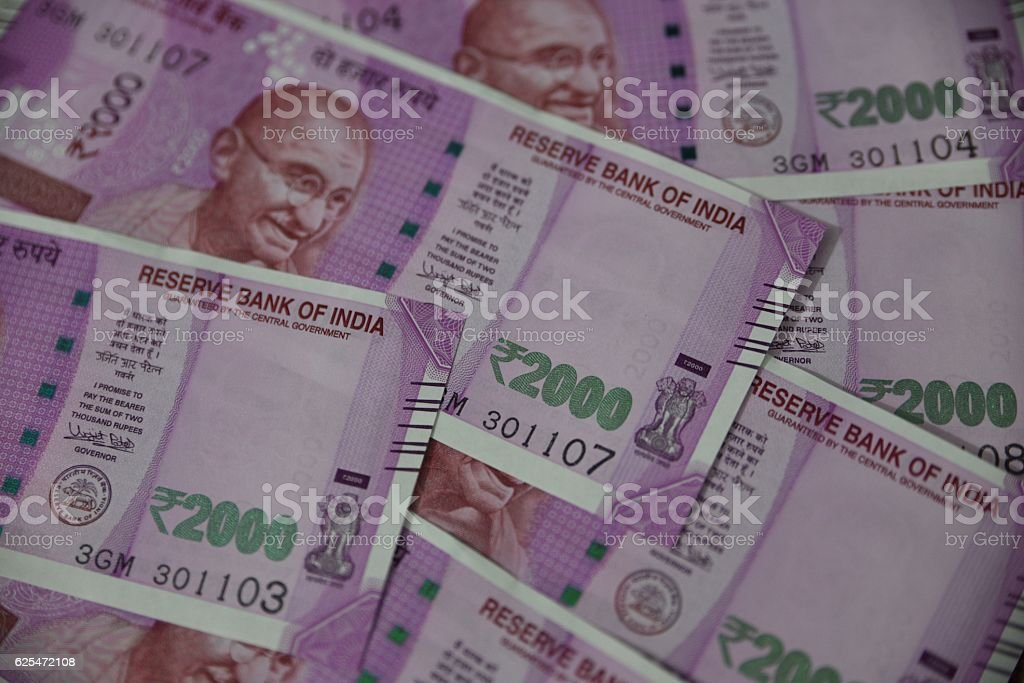 New Indian Currency 2000 Rupee stock photo