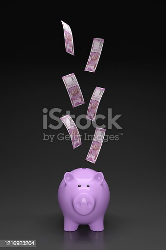 istock New Indian Currency with Piggy Bank 1216923204