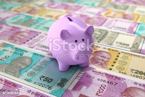 istock New Indian Currency with Piggy Bank 922506264