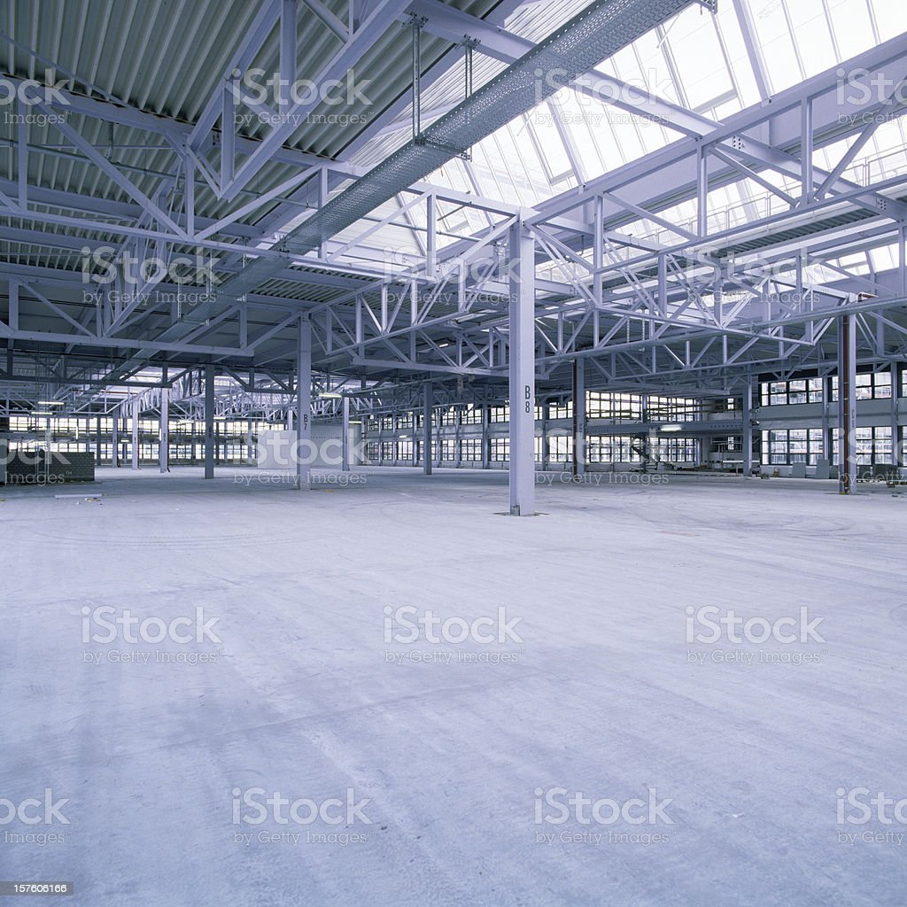 New industrial hall with glass ceiling stock photo