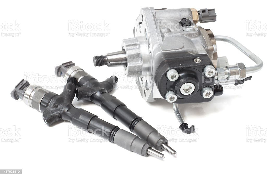 New Injectors For Diesel Fuel Lying And A Fuel Pump Stock Photo