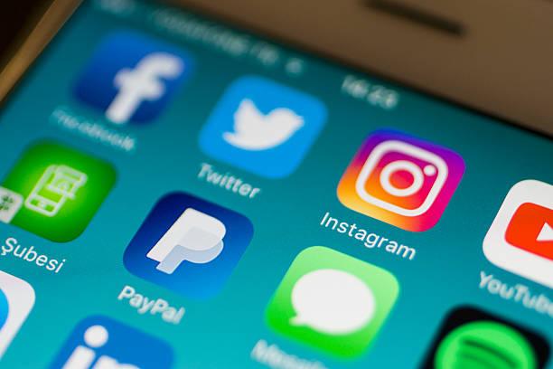 nuovo logo instagram - paypal foto e immagini stock