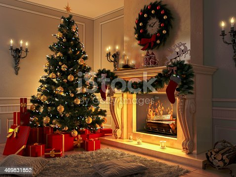 istock New interior with Christmas tree, presents and fireplace. Postcard. 469831852