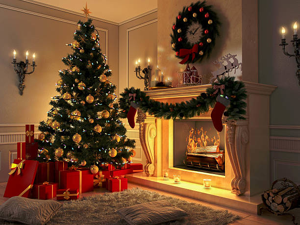 neue einrichtung mit weihnachtsbaum, geschenke und kamin.   postkarte. - kamin wohnzimmer stock-fotos und bilder