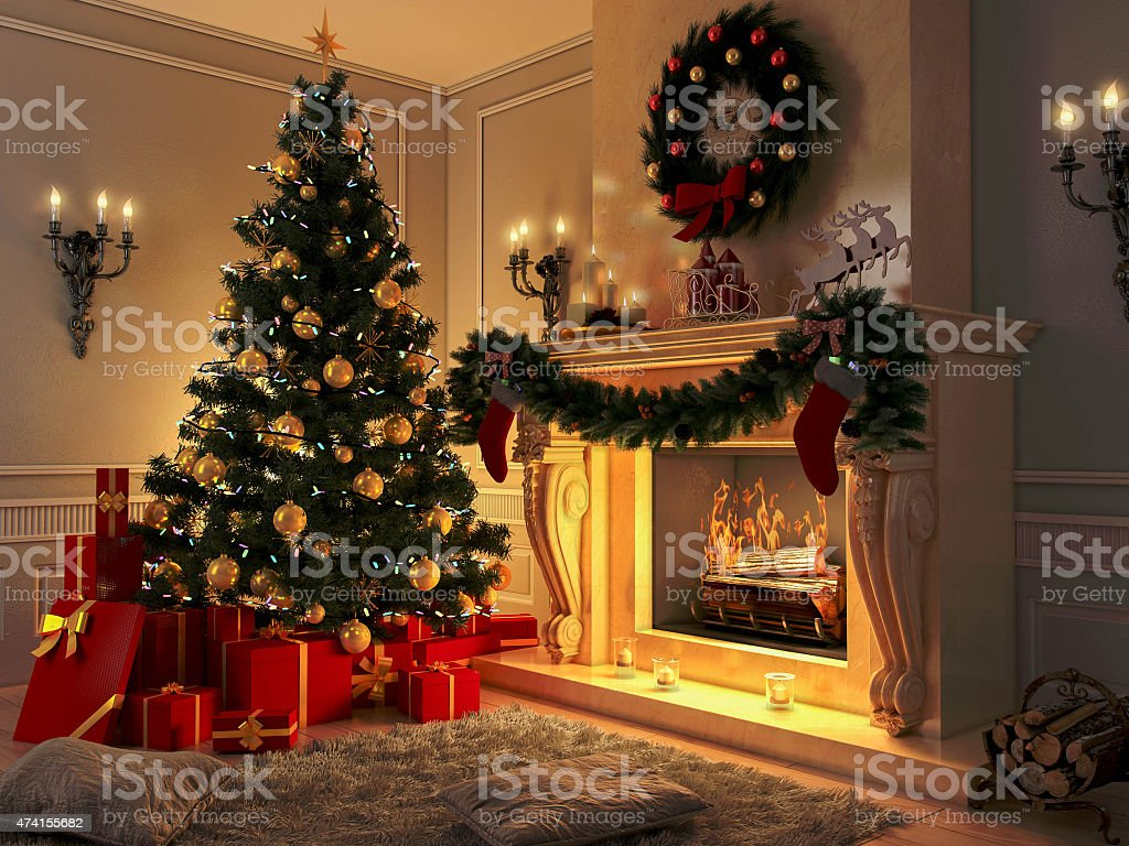 New interior with Christmas tree, presents and fireplace. Postcard. stock photo
