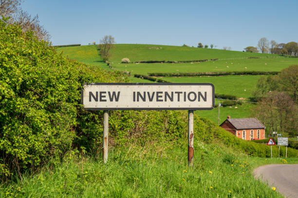 new invention, shropshire, england, uk - place sign stock pictures, royalty-free photos & images