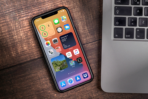 Antalya, TURKEY - September 05, 2020.  new ios 14 screen iphone, Apple's next operating system for its smarphones to be released